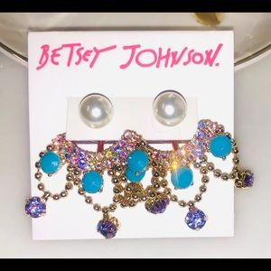 BETSEY JOHNSON Earrings Stone Gold Tone Pearl/Pink